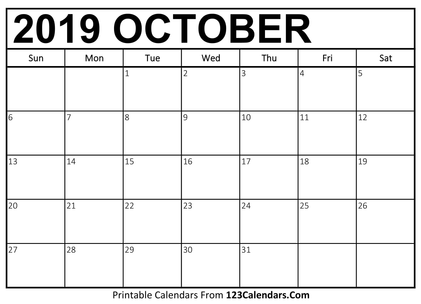 graphic relating to October Calendar Printable called Oct 2019 Printable Calendar