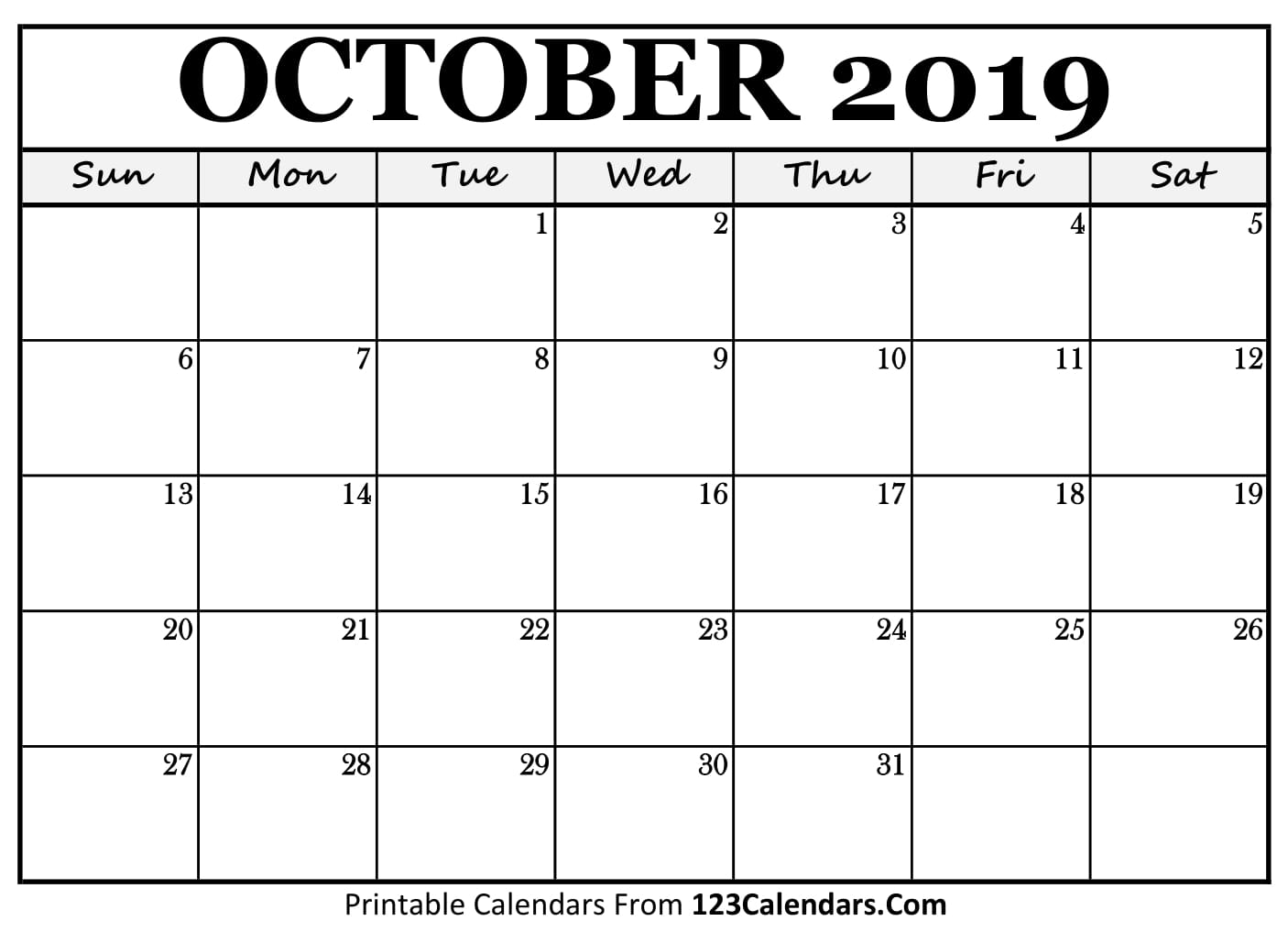 picture regarding Printable Calendar October named Oct 2019 Printable Calendar