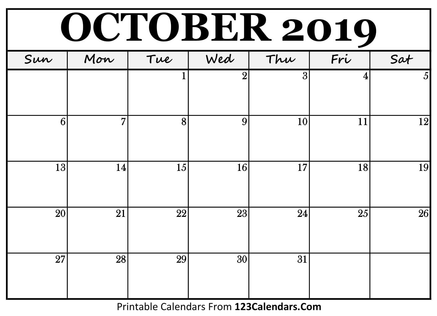 October Calendar 2018 Printable : Printable october calendar templates calendars
