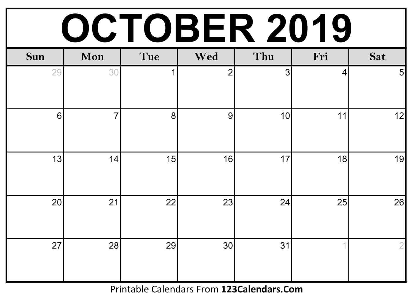 graphic about October Calendar Printable titled Oct 2019 Printable Calendar