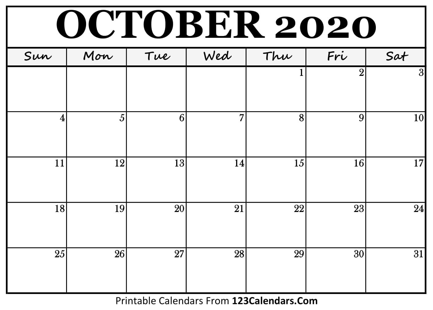 Printable October 2020 Calendar Templates 123calendars Com