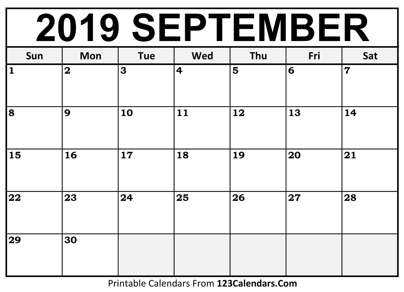 September 2019 Calendar Blank Easily Printable 123calendars