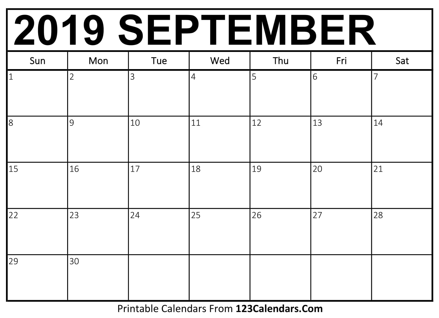 graphic about September Printable Calendar named September 2019 Printable Calendar