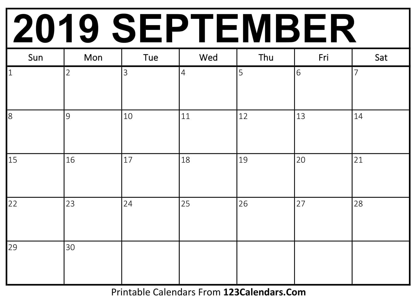 September 2019 Calendar Blank Easily Printable 123calendars