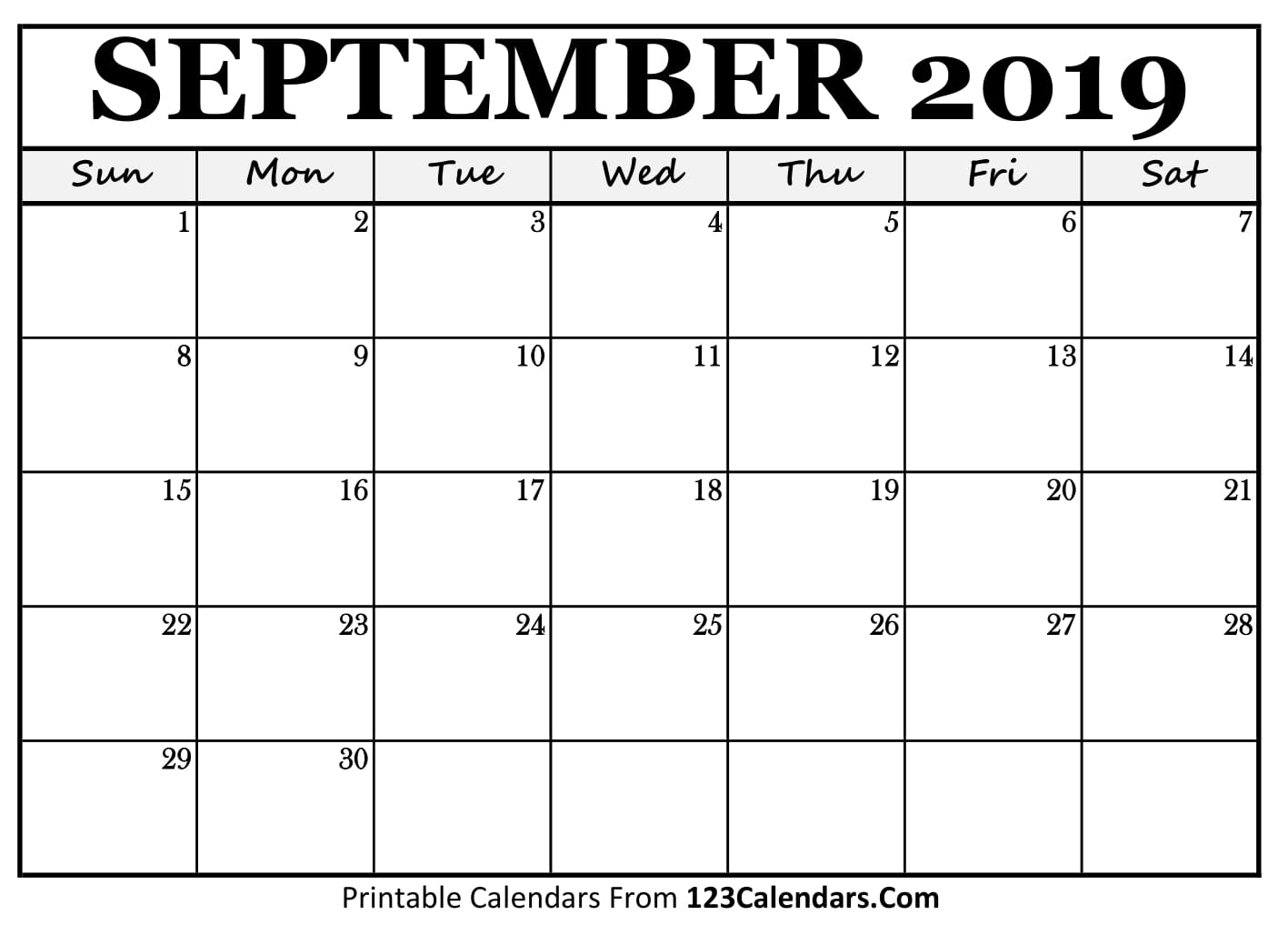 graphic regarding September Printable Calendar titled September 2019 Printable Calendar