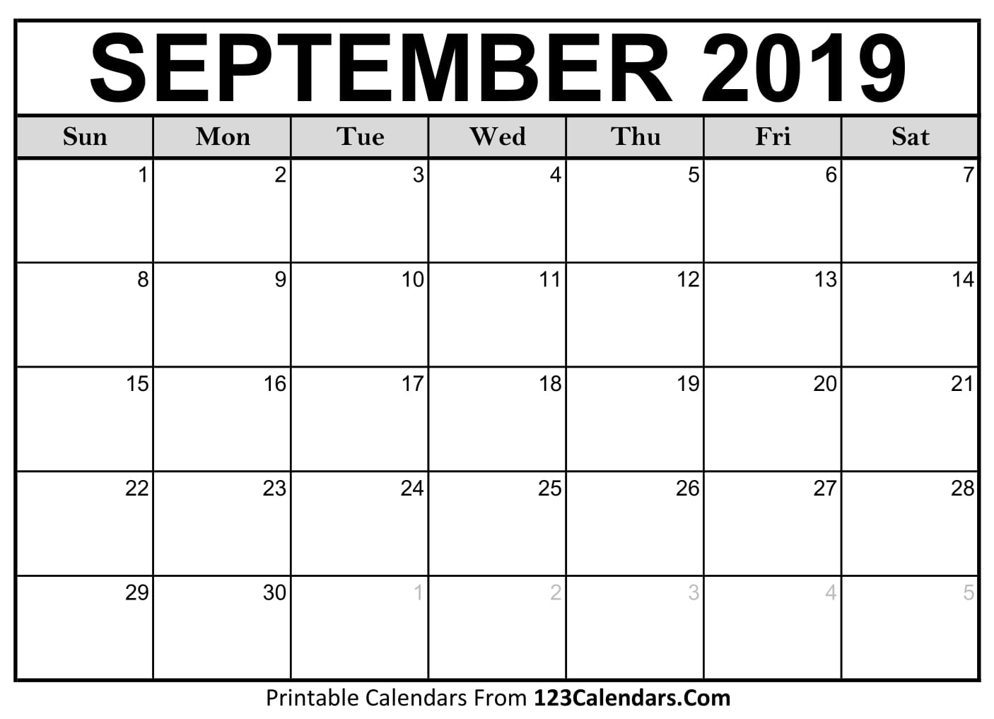 photograph regarding Monthly Printable Calendar identified as September 2019 Printable Calendar