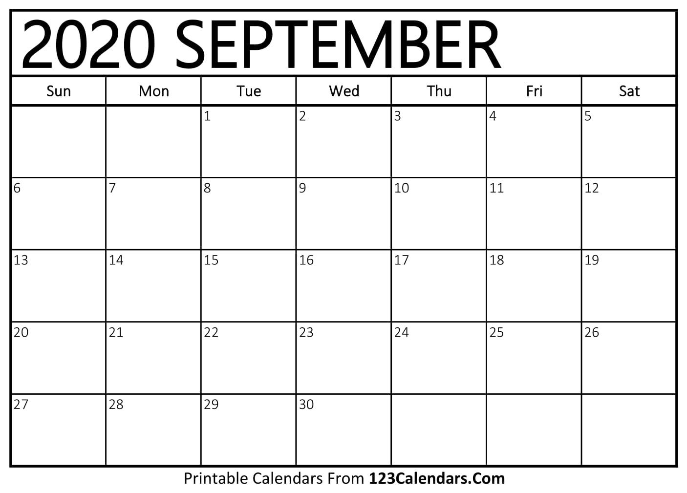September 2020 Printable Calendar   123Calendars.com   Creative Calendar 2020 September