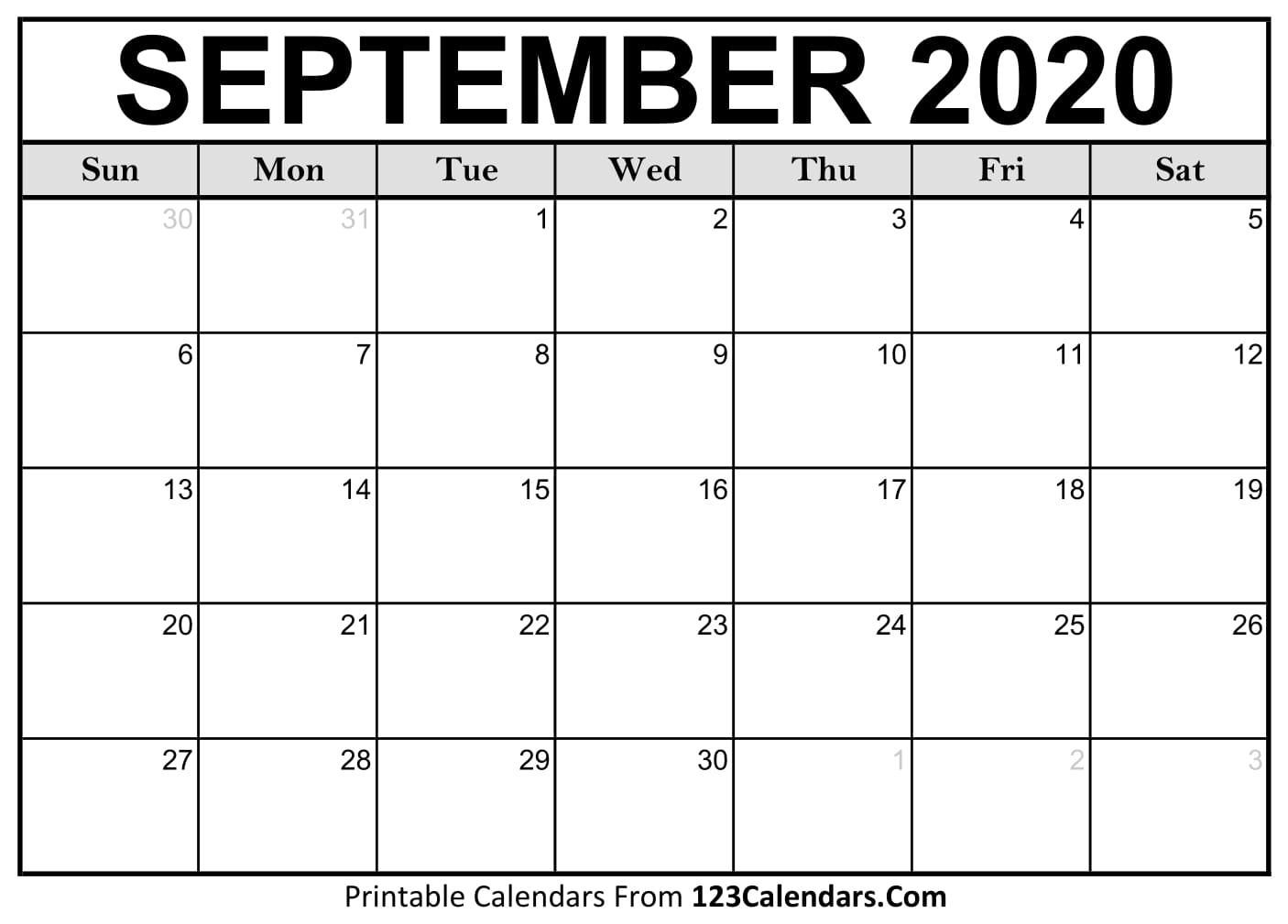 Free September 2020 Calendar ...