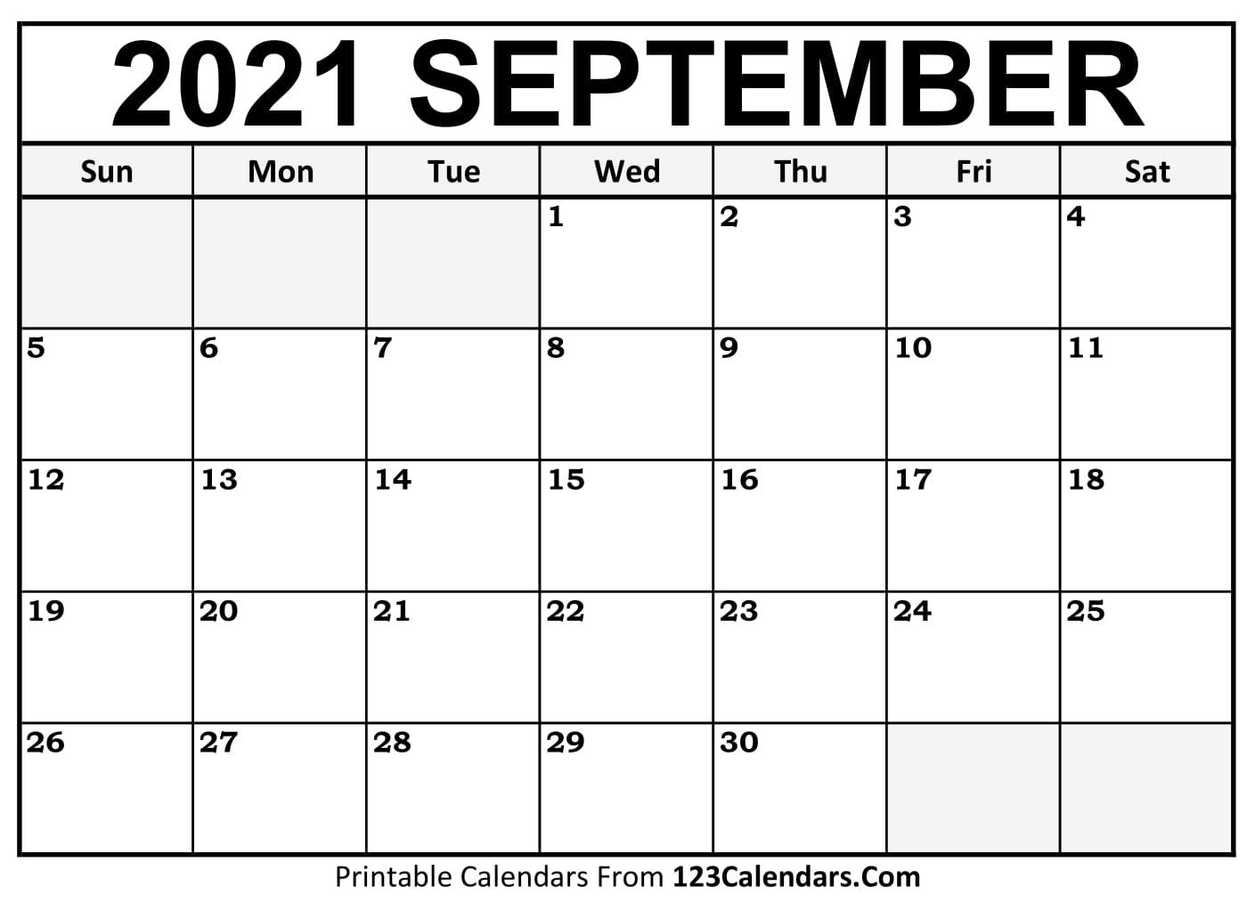 Printable September 20 Calendar Templates   20Calendars.com